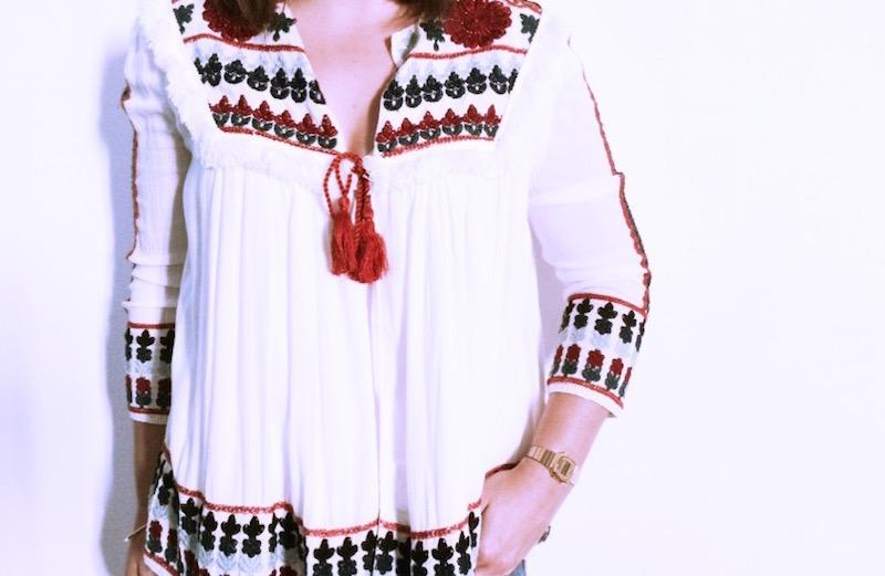 blouse brodée blanche zara