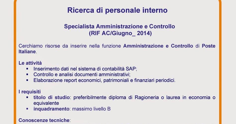 Recapito di Roma: Job Posting: Ricerca di personale interno Specialista Amministrazione e Controllo