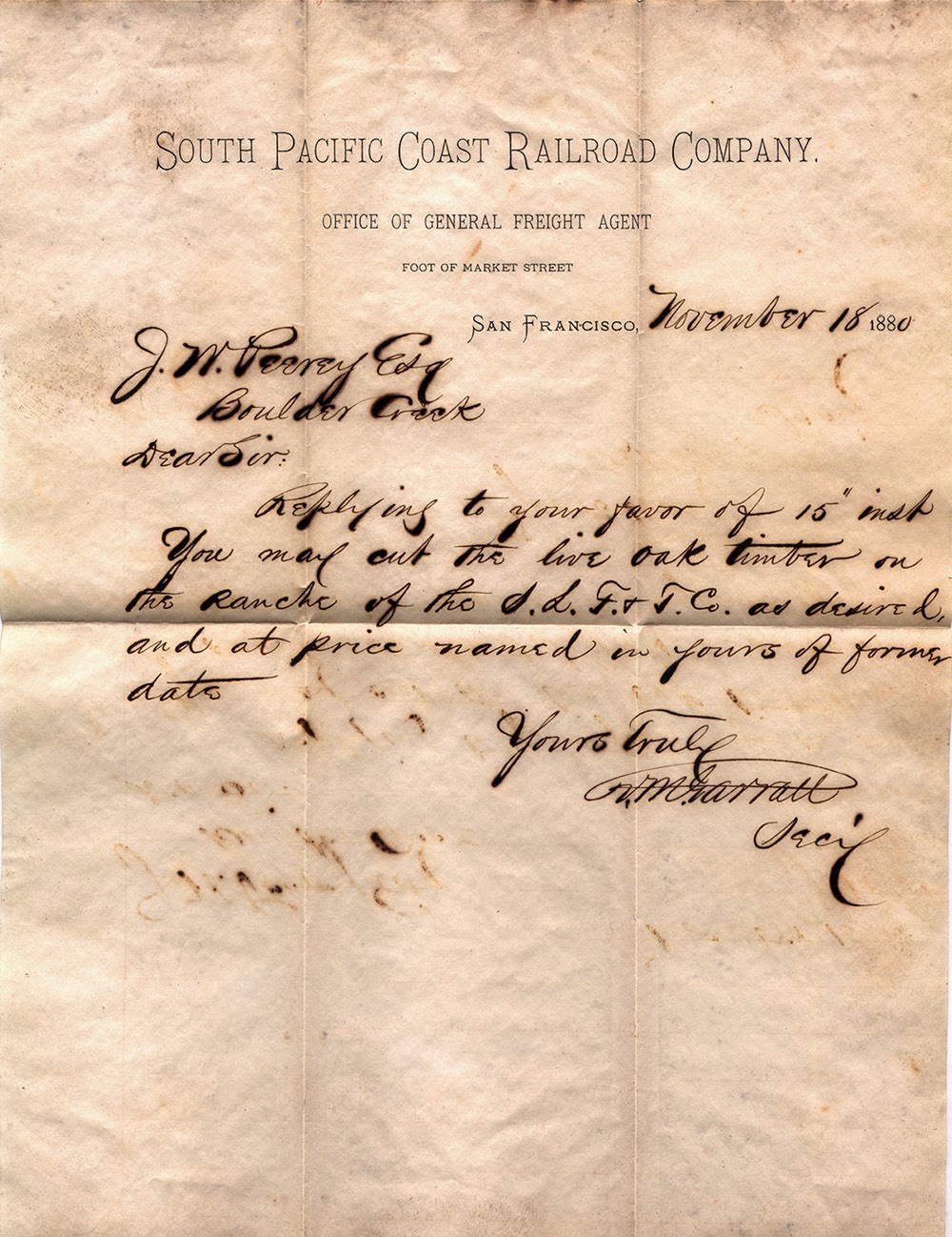 The letter is from the South Pacific Coast Railroad Company to lumberman, and founder of the town of Lorenzo, Joseph Peery.