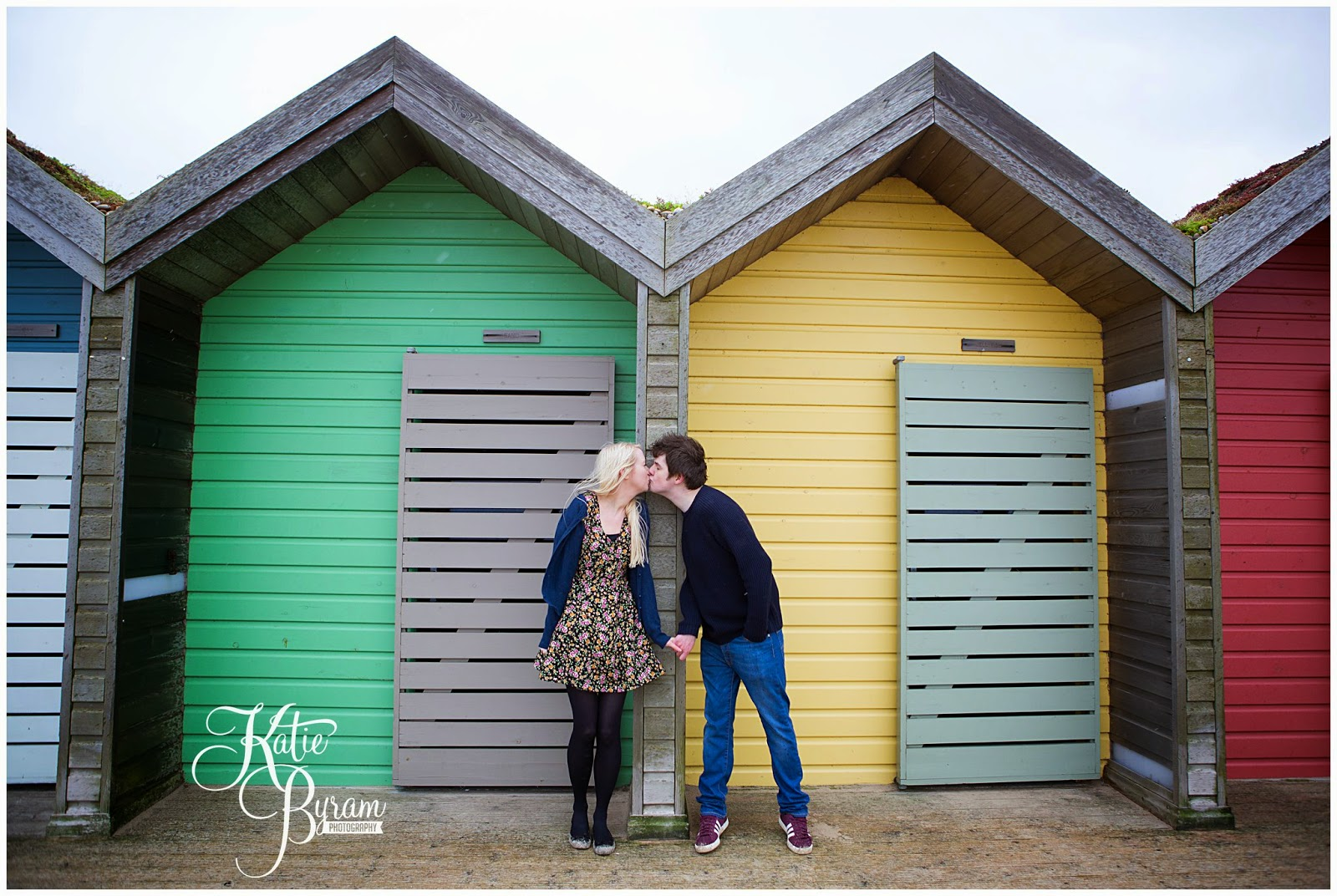 blyth pre-wedding shoot, eshott hall wedding, beach engagement shoot, northumberland wedding photographer, beach engagement, blyth beach huts, katie byram photography
