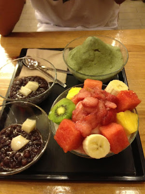 Milk and Green Tea Bingsu at Homilbat in Sinchon