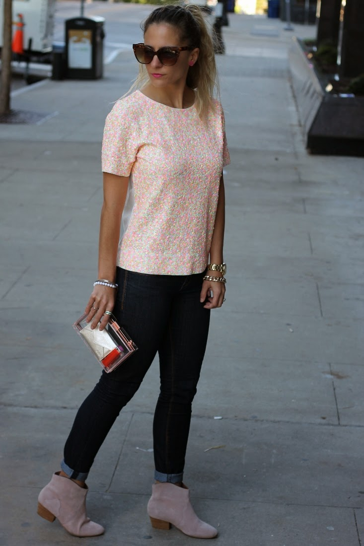 Sequin Tee with Skinny Jeans and Pink Ankle Booties