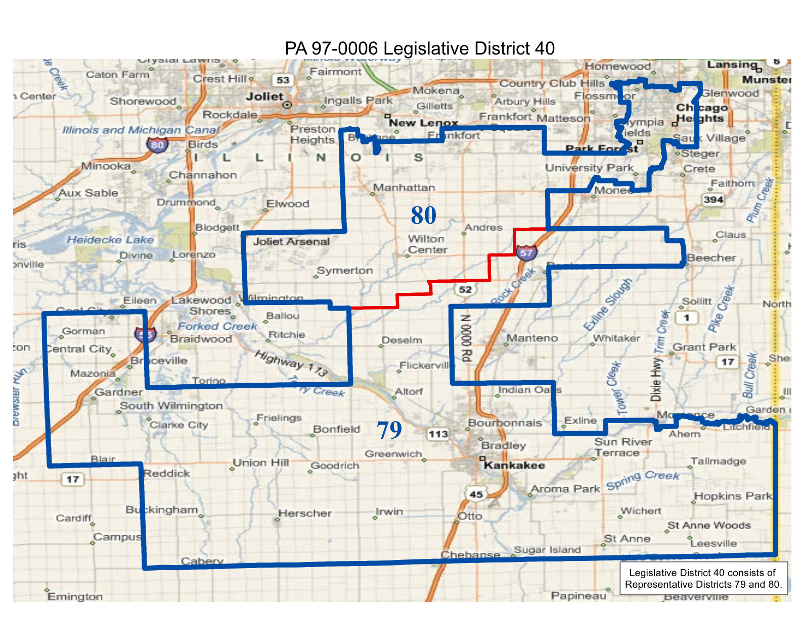 map of realigned illinois state senate district 40 and state representative districts 79 and 80 including the will county towns of manhattan peotone