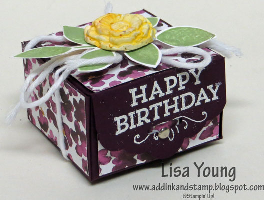 Small gift box made with Stampin' Up! Scalloped Tag Topper Punch. Topped with Simply Pressed Clay flower and tied with cotton twine