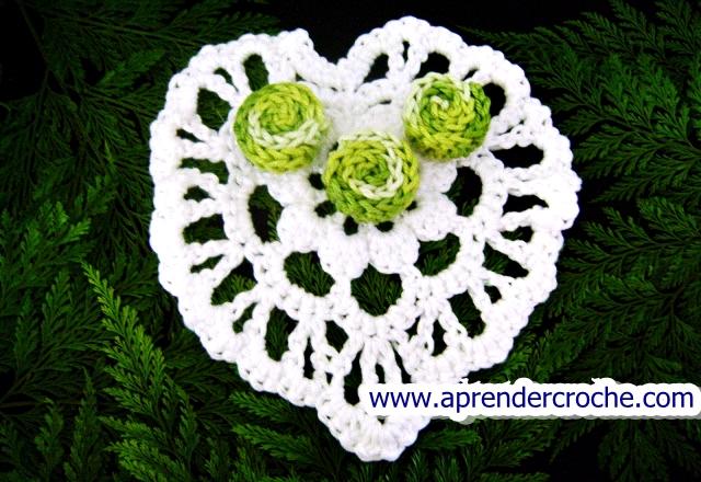 aprender croche com medalhão modelo coração edinir-croche dvd loja curso de croche