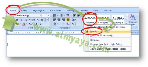 Gambar: Cara merubah font style normal sebagai font default dokumen Microsoft Word