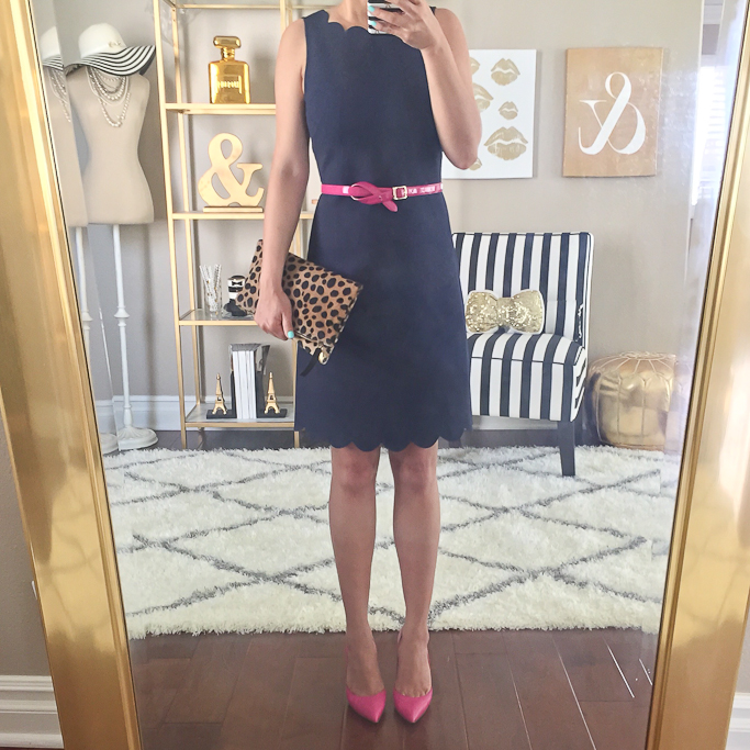 Clare V leopard foldover clutch, J.Crew factory scalloped dress, J.Crew scalloped trim dress, Kate Spade lottie pumps, Pink belt