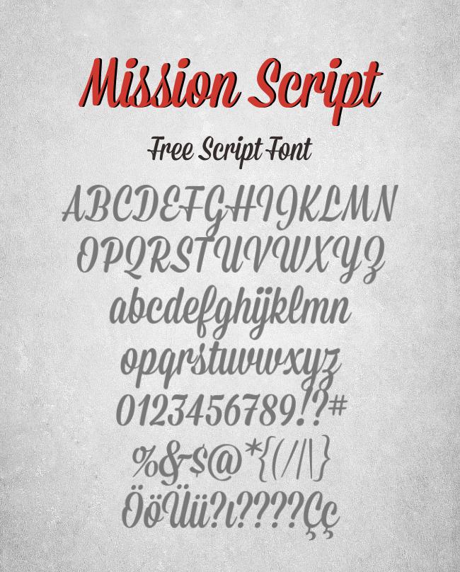 35 Font Script untuk Desain grafis - Mission Script Font