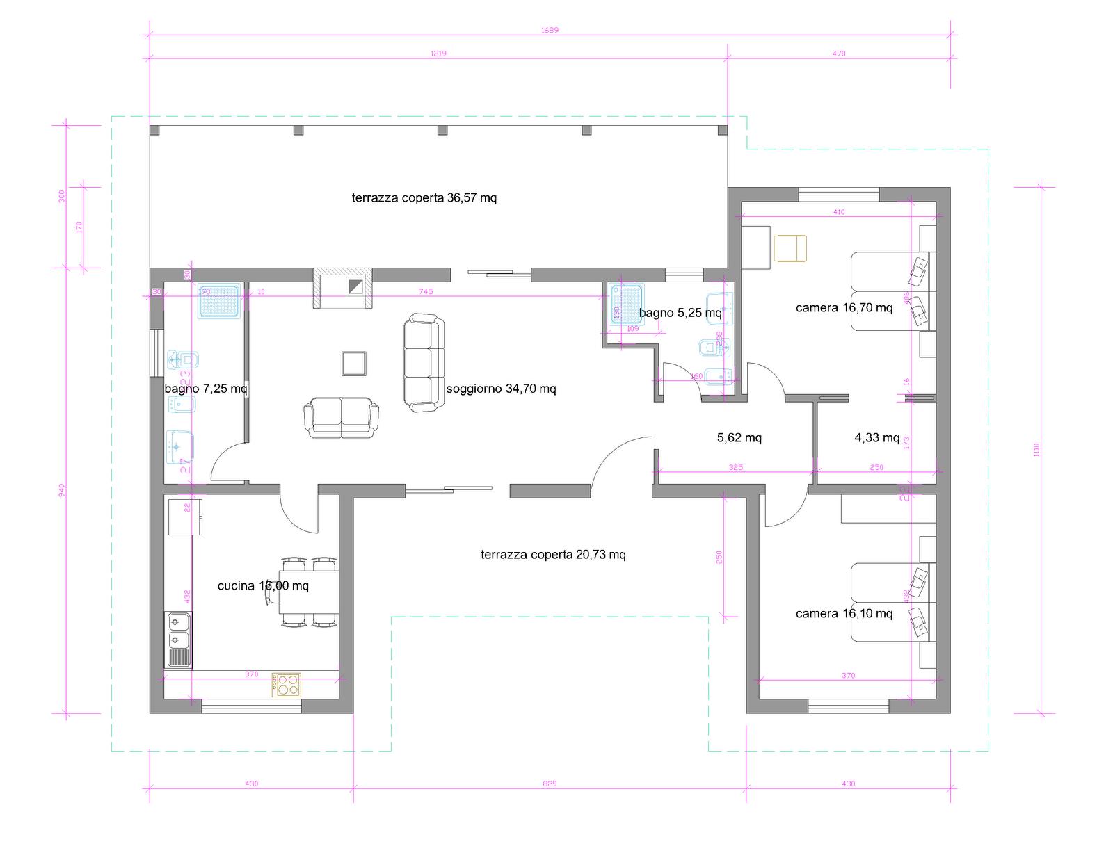 Progetti di case in legno casa 129 mq porticati 57 mq for Progetti di piani casa fienile