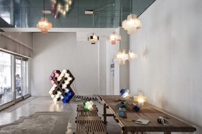 Modulos ecologicos para armar lamparas taburetes estanteria - Lampara estanteria ...