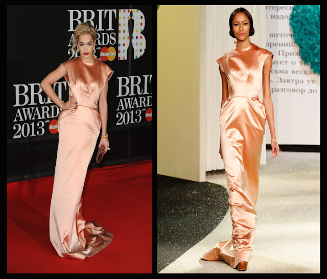a filha do chefe singer Rita Ora Ulyana Sergeenko dress balmain brit awards 2013