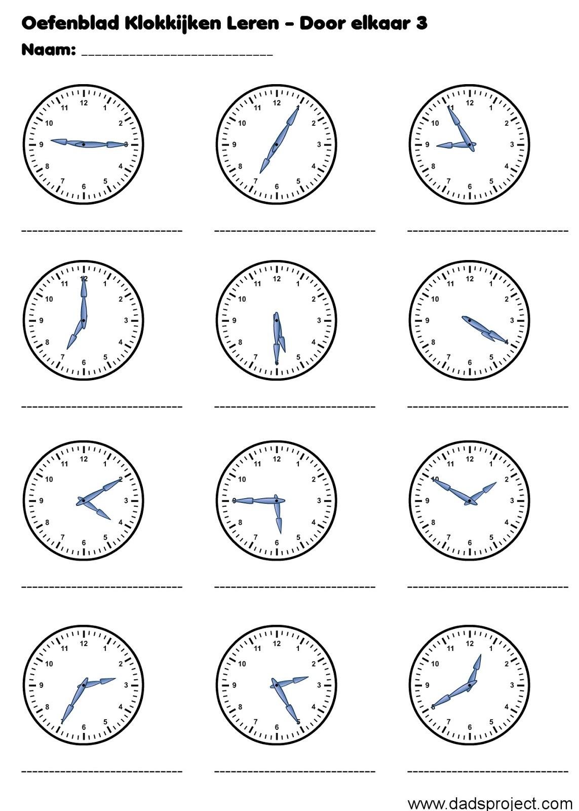 Leerjaar zes werkbladen kloklezen for Door 1 2 or 3