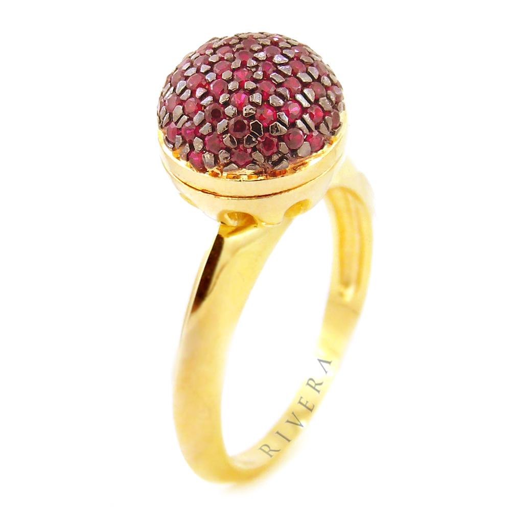 anel folheado a ouro bola