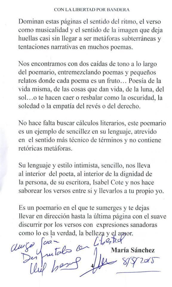 Con la libertad por bandera, Isabel Cóte.