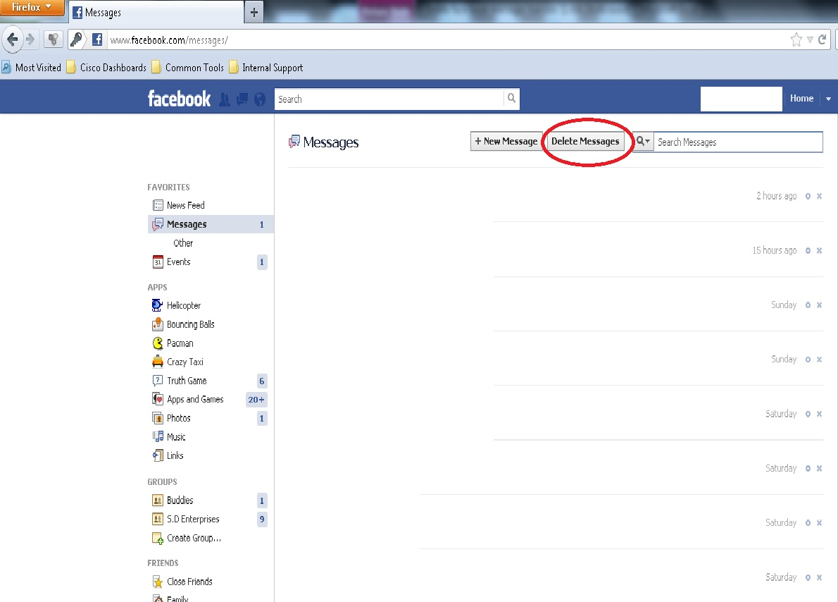 Open Facebook And Go To Messages Now You Will Find Delete Messages Option  Next To Message
