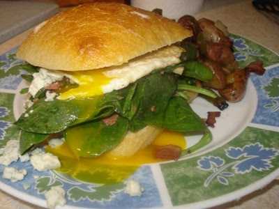 Eats@Home: Fried Egg Sandwich with Bacon and Blue Cheese