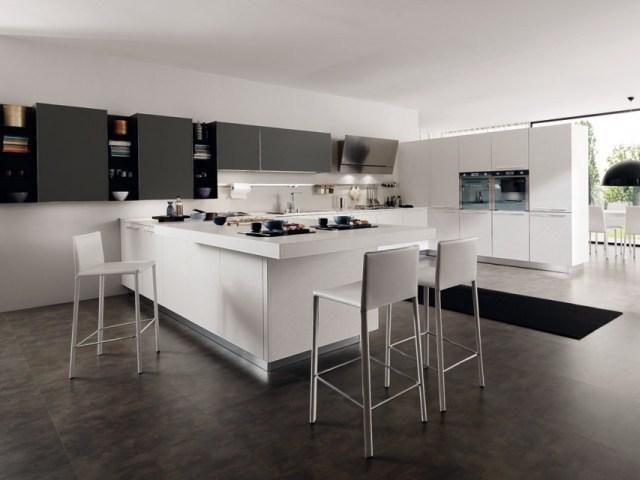 Cocinas en blanco y negro colores en casa for Diseno de cocinas modernas con isla