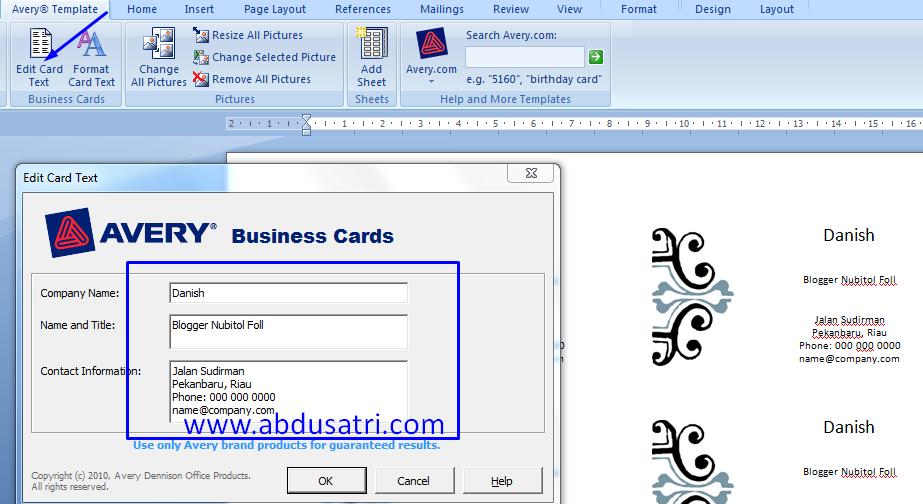 Belajar membuat kartu nama dengan microsoft word 2007