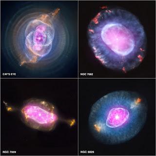 Планетарные туманности NGC 6543 («Кошачий глаз»),  NGC 7662, NGC 7009 и NGC 6826.