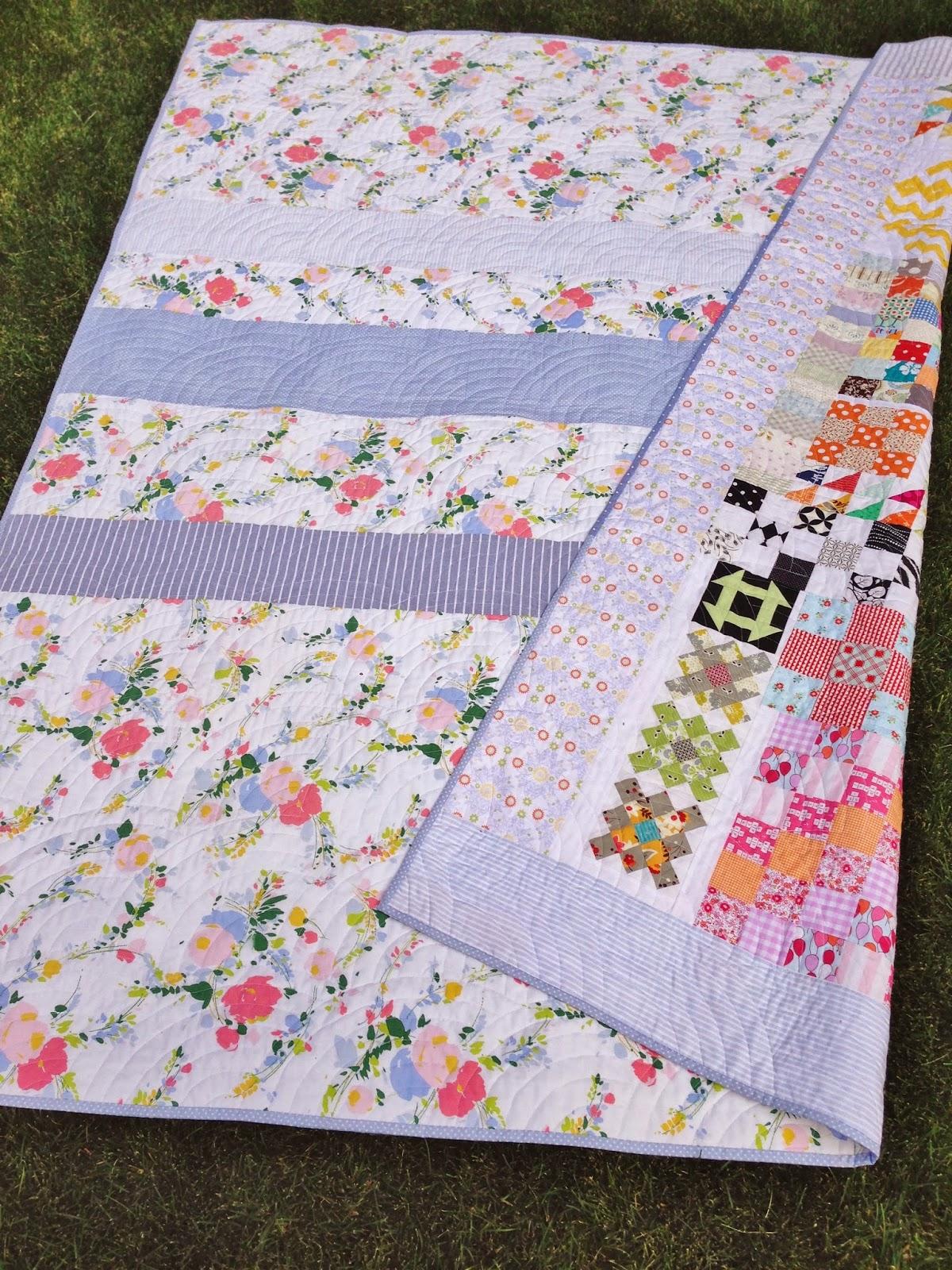 Floral Vintage Sheet Quilt Back
