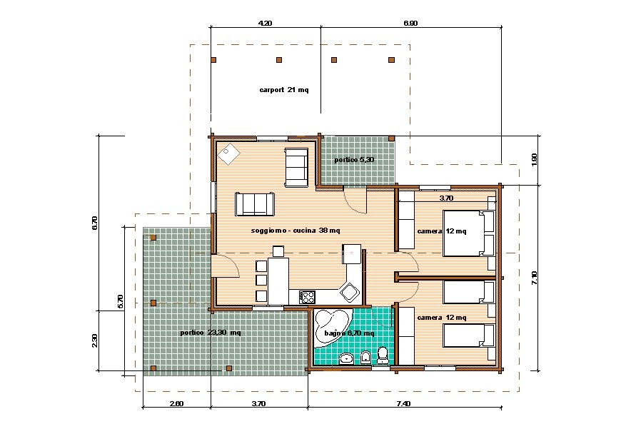 Progetti di case in legno casa 78 mq portico 29 mq - Planimetria casa 60 mq ...