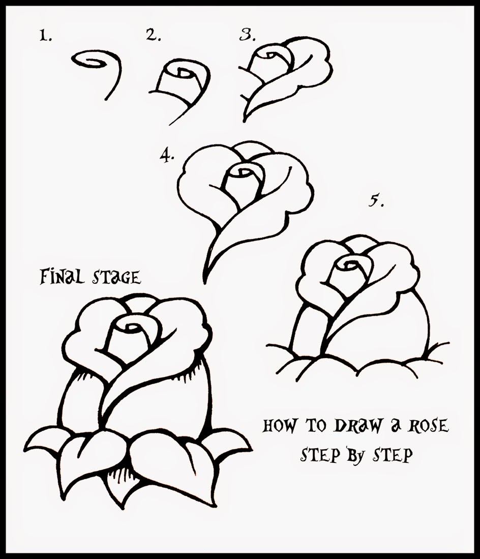 How To Draw A Rose Step By For Kids