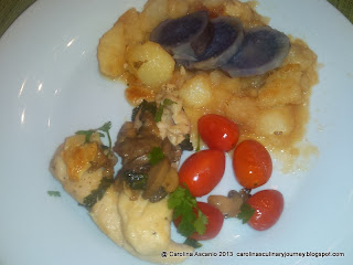 Chicken with Mushrooms and Cherry Tomatoes - Pollo con Champinones y Tomaticos