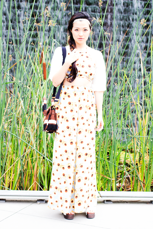 Jac Vanek sunflower two piece, vancouver fashion blogger festival style
