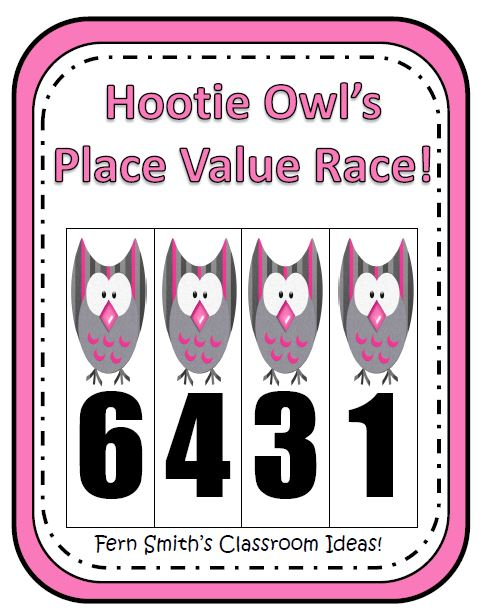 Place Value Race Game Hootie Owl Themed