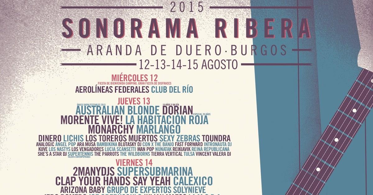Distribución por días del Sonorama Ribera 2015