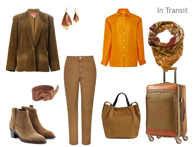 Travel outfit in brown and orange, inspired by Flaming June by Sir Frederic Leighton