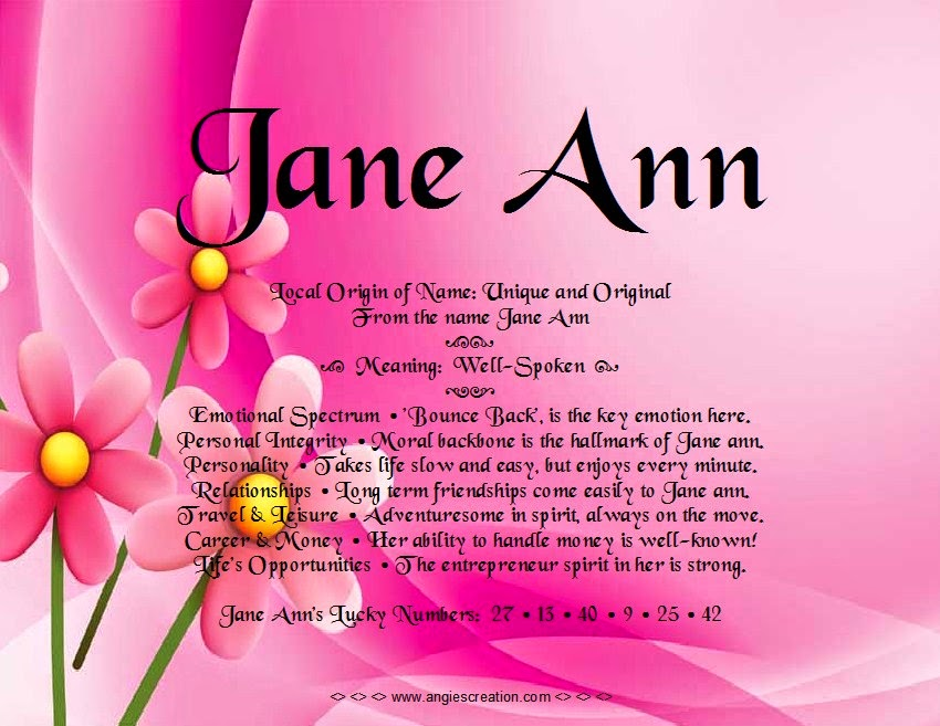 The meaning of the name -  Jane Ann