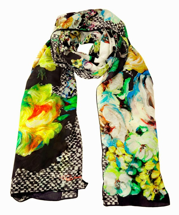 scarf, printed scarf, roberto cavalli, floral prints, floral scarf, silk scarf, scarf collection
