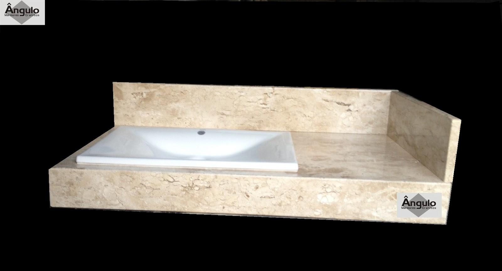 Ângulo Mármores e Granitos: Bancada Para Banheiro Bege Bahia #836F48 1600x863 Bancada De Banheiro Marmore Bege Bahia