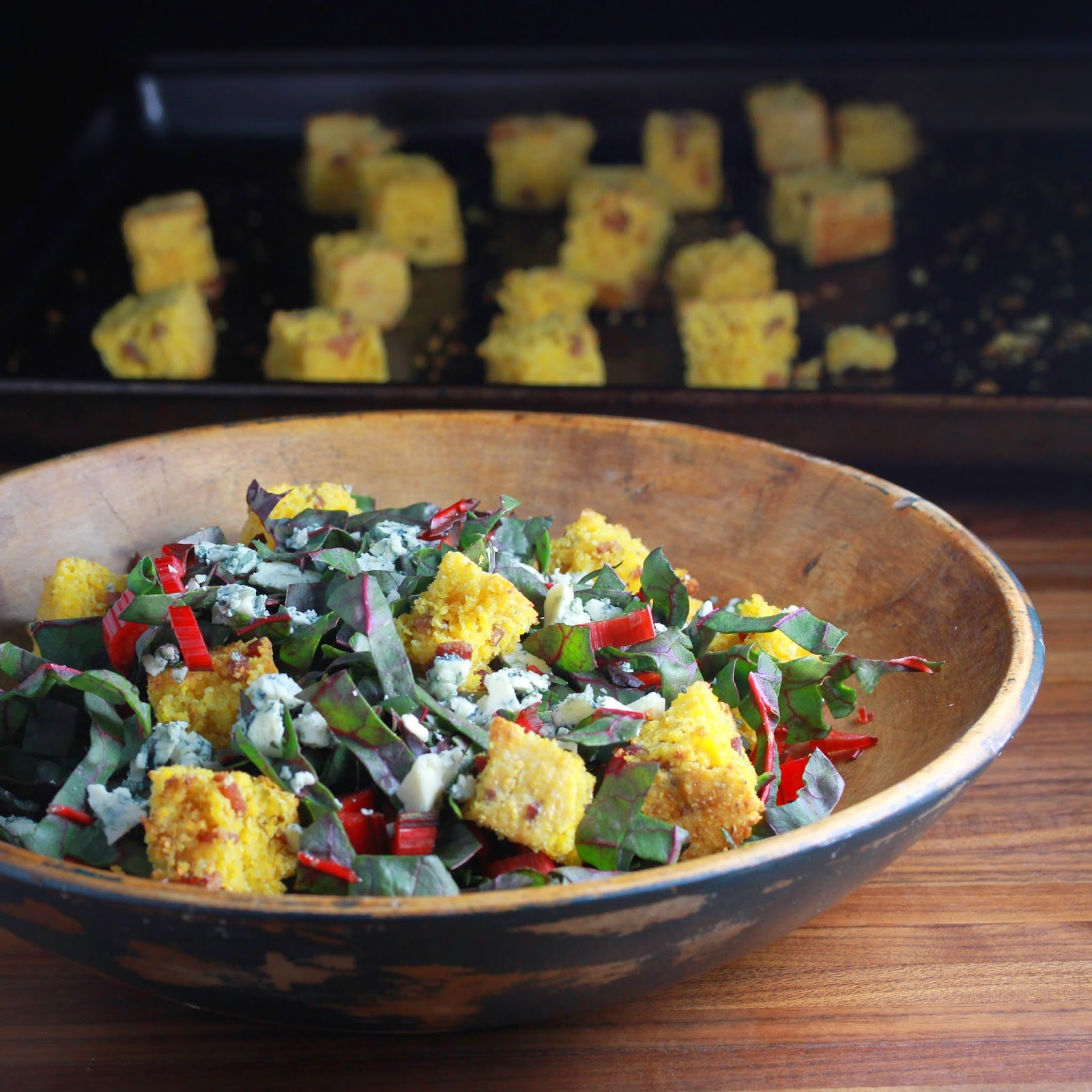 Chard Salad with Crackling Bread Croutons