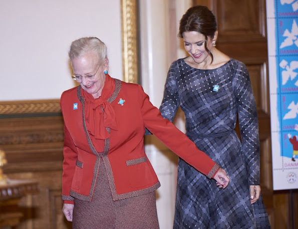 Queen Margrethe and Crown Princess Mary of Denmark attended the presentation of the Christmas Seal for 2015 at the City Hall of Copenhagen, Denmark.