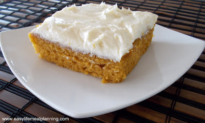 Heavenly Pumpkin Bars with Cream Cheese Frosting - Easy Life Meal & Party Planning