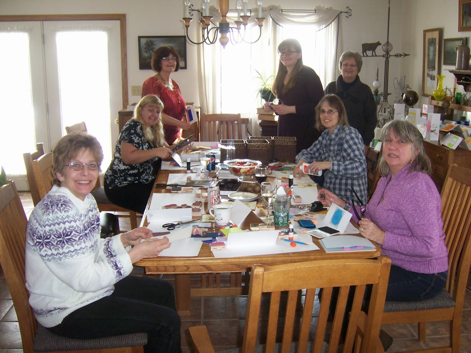 Throw a party for friends from your church. Make cards together as a group to send to members. Ask everyone to bring something along such as papers, envelopes, embellishments, rubber stamps, old cards, clippings from seed magazines, tools, scissors, glue, etc.