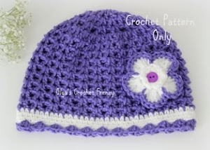 V-Stitch Crochet Girls Hat Pattern, Size 3-5 Years Old, $2.25