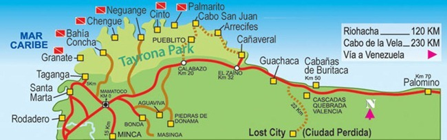 Resultado de imagen para Mapa PNN Tayrona