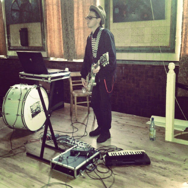 bass drum and melodica and Milk playing a guitar
