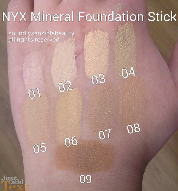 NYX Mineral Foundation Stick Review & Swatches of Shades 01 Fair, 02 Porcelain, 03 Light, 04 Light/Medium, 05 Medium Beige, 06 Golden Beige, 07 Cool Tan, 08 Warm Tan, 09 Caramel