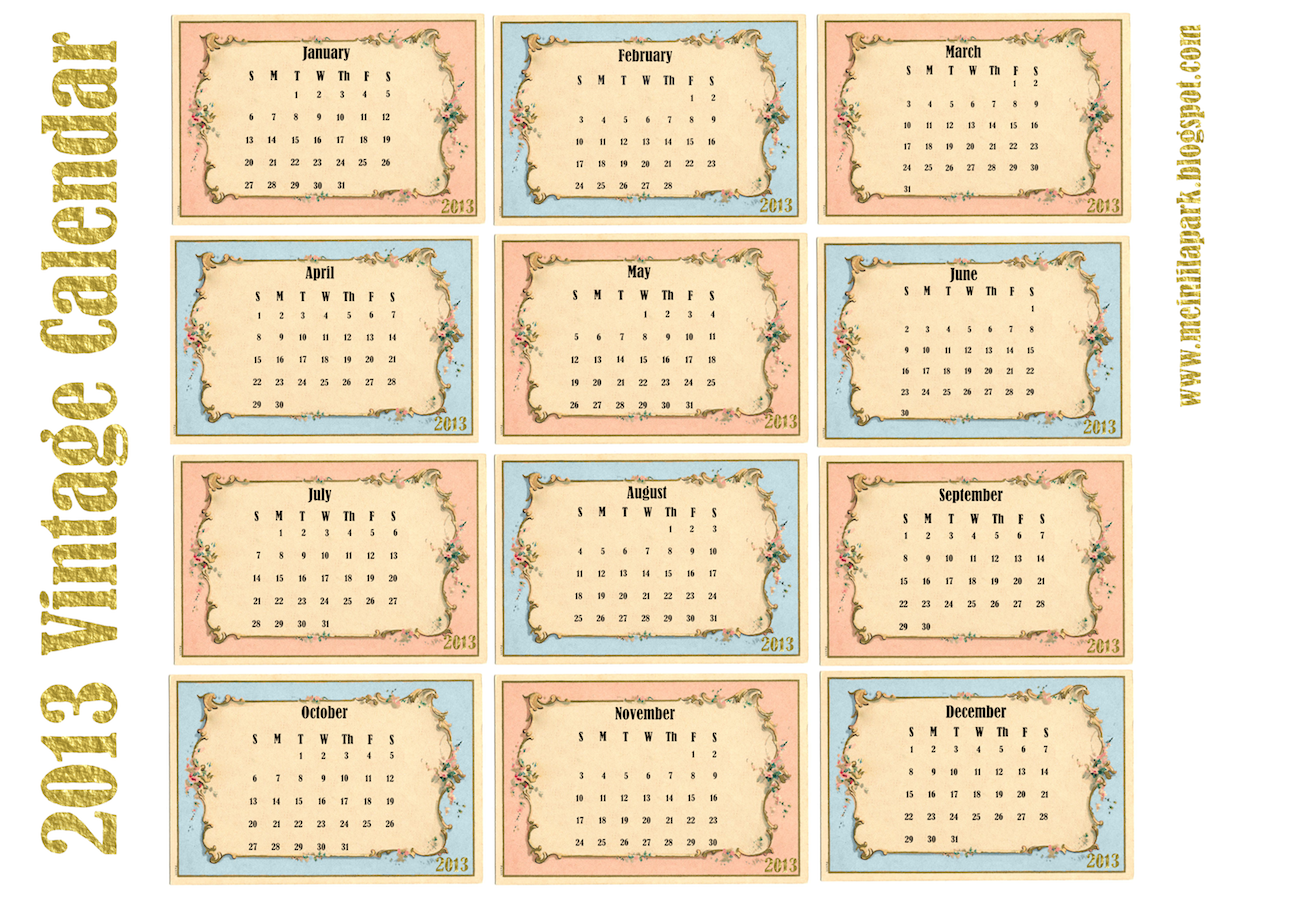 Calendar Cards Printables : Free printable calendar in vintage design monthly