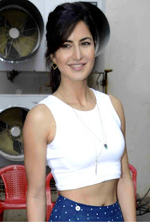Katrina Kaif in a very small white Blouse and Skirt promoting Fitoor at MEH Studios Bandra Mumbai