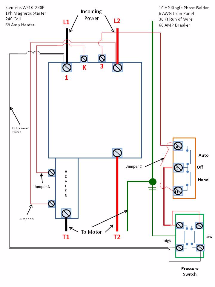 Wiring Diagram For A 3 Phase Motor Starter : Single phase motor starter wiring diagram elec eng world