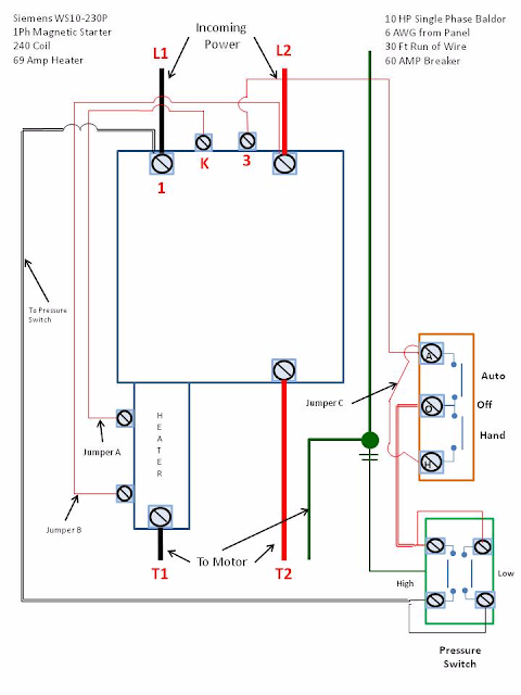 Single phase motor starter wiring diagram elec eng world for 1 phase motor starter