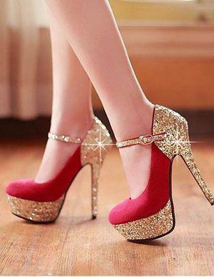 New Women Pumps Twin-Bow Golden Stiletto Heel Peep Toe Platform Sole Party Shoes…