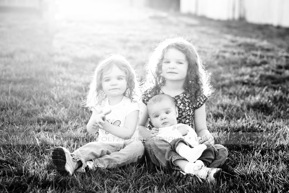 black and white photo of three siblings - Terre Haute photographer
