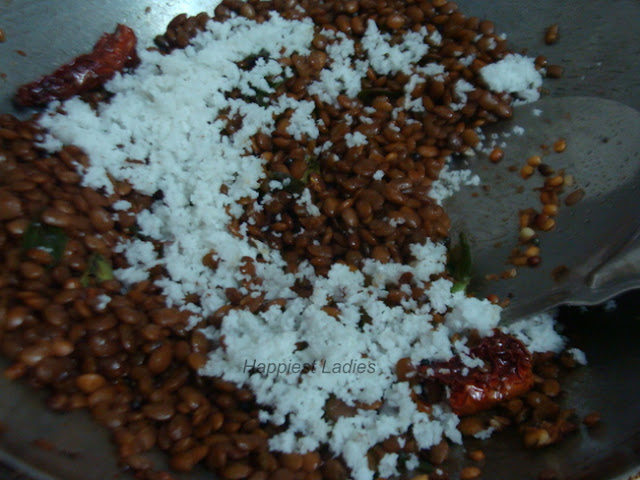 Coconut garnishing for Horse Gram Palya+palya recipe