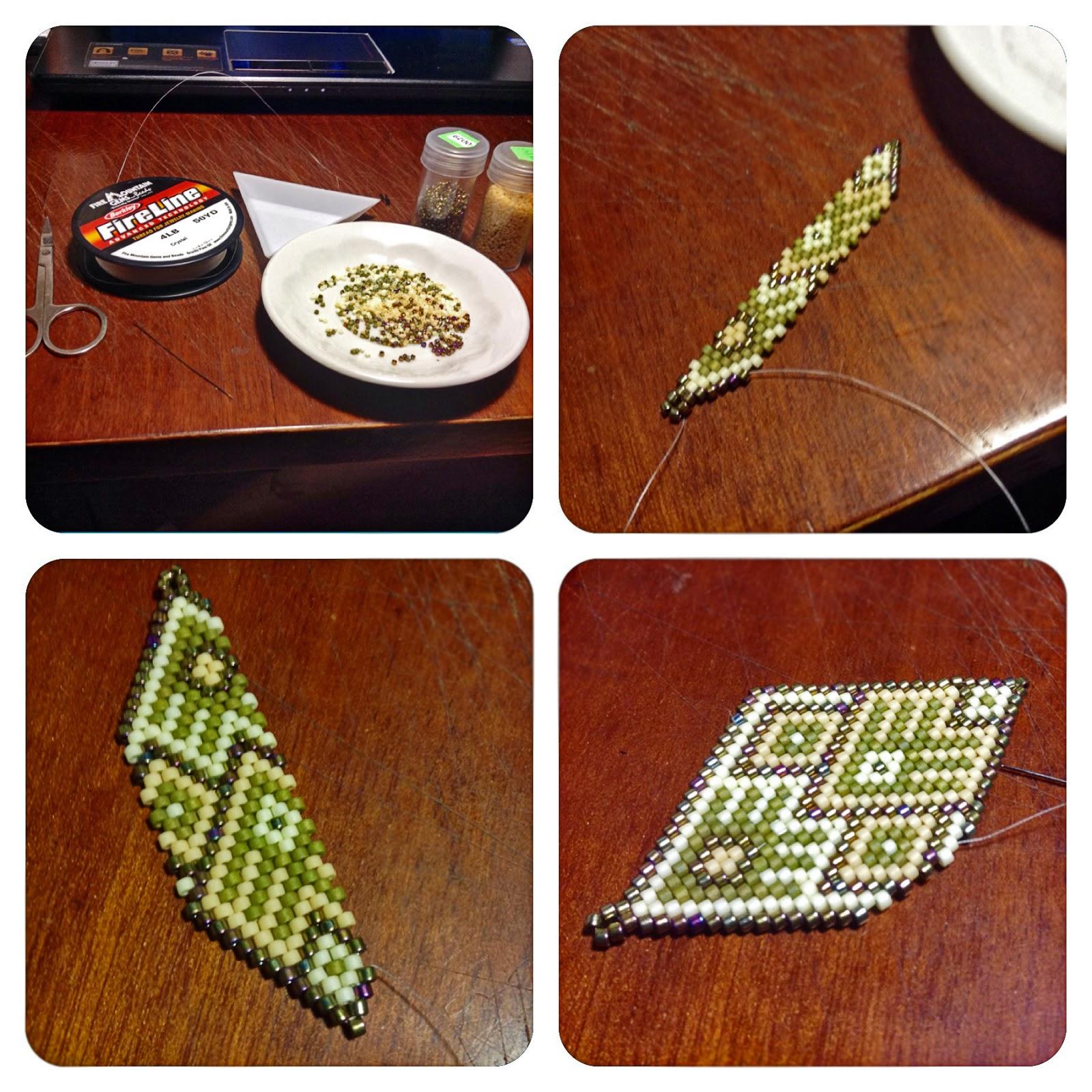 Серьги из бисера - мозаичное плетение
